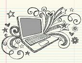 Hand-Drawn Business Laptop Computer Sketchy Notebook Doodles with Swirls, Hearts, and Stars- Vector