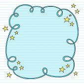 Mão-extraídas psicodélico Groovy Notebook Doodle Swirly nuvem Frame Design elemento com estrelas em forrado