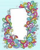 Mão-extraídas psicodélico Groovy Notebook Doodle quadro de retângulo decorativa em azul forrada Sketchbook Pa