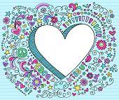 Elementos de Design de mão-extraídas psicodélico Groovy 3D coração Notebook Doodle em Pap Sketchbook forrada azul