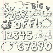 Hand-Drawn Sketchy Notebook Doodles 25% Percent Discount Sale & Shopping Vector Tags- Illustration D