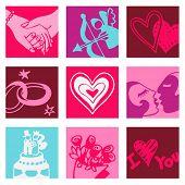 Love pop-art - illustrations - icons set -