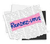RENDEZ-VOUS on vector paper notes background