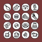 black and white icon set - food 1