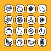 black and white icon set - fruits -