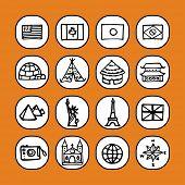 zwart-wit icon set - reizen-