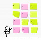 man & sticky notes