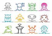 single line ALIENS & ROBOTS