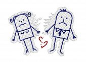 hand drawn cartoon characters on checked paper - couple & divorce