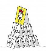 hand drawn cartoon characters - powerful king & cards pyramid