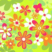 colorful floral background - green, orange & pink