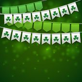 Happy Saint Patricks Day Backdrop With Garlands. poster