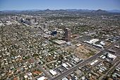 stock photo of piestewa  - Aerial view of midtown Phoenix along central avenue - JPG