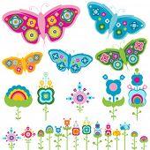 Постер, плакат: Ретро элементов цветы и бабочки