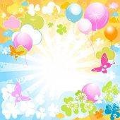 colorful design with butterflies and balloons