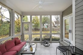 stock photo of screen-porch  - Porch with view to patio - JPG