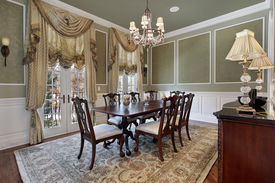 picture of light fixture  - Dining room in luxury home with french doors - JPG