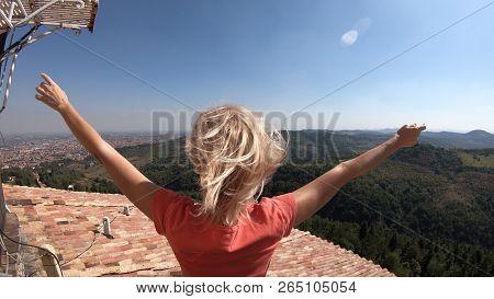 Woman Enjoys The Top Panorama