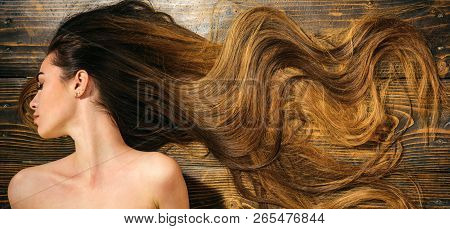 poster of Very Long Hair On Wooden Background. Beautiful Model With Curly Hairstyle. Hair Salon Concept. Care
