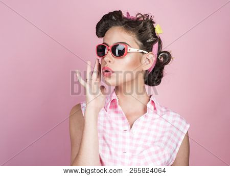 poster of Retro Woman With Fashion Makeup. Vintage Housewife Woman Make Hairstyle. Happy Girl In Summer Glasse