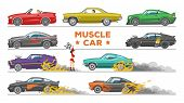 Muscle Car Vector Racing Speedcar On A Track And Retro Race Auto Driving On Rally Sport Event Formul poster
