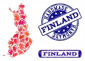 Handmade Craft Collage Of Mosaic Map Of Finland And Rubber Seals. Mosaic Map Of Finland Designed Wit poster