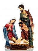 Scene of the nativity: Mary, Joseph and the Baby Jesus isolated on a white background poster
