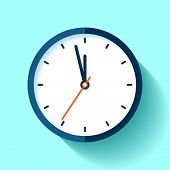 Clock Icon In Flat Style, Round Timer On Blue Background. Five Minutes To Twelve. Simple Watch. Vect poster