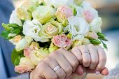 Bride Puts The Ring On The Finger Of The Groom. Hands Of Groom And Bride With Rings Hands Of Groom A poster