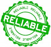 Grunge Green Reliable Round Rubber Seal Stamp On White Background poster