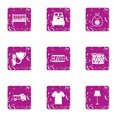 Vital Space Icons Set. Grunge Set Of 9 Vital Space Icons For Web Isolated On White Background poster