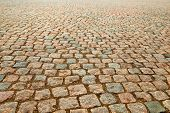 Wet Gravel On The Ground. Wet Road Of Stones. Natural Background.  Natural Paving Granite On Road. W poster