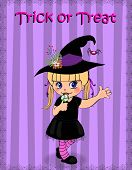 Happy Halloween Greeting Card Of Little Cute Naughty Baby Girl In Witch Dress Costume And Hat Rising poster