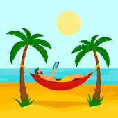 Man At Beach Hammock Concept Background. Flat Illustration Of Man At Beach Hammock Concept Backgroun poster
