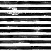 Black And White Watercolor Hand Drawn Striped Seamless Pattern. White Background With Watercolour Br poster