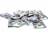 Money with Handcuffs. American Money Locked up with Hand Cuffs. Isolated on white. Room for text. Fi poster