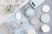 Fashion Cosmetic Products Set On Pastel Blue, Grey Color Paper - White Soap, Towel, Flowers, Soap Di poster