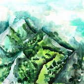 A Watercolour Landscape Painting, A Morning View Over Mountains In Vibrant Teal Blue And Green, With poster