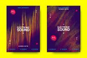 Electronic Festival Music Poster. Party Sound Flyer With Dotted Lines And Round With Movement Effect poster