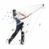 Golf Player, Low Polygonal Golfer, Isolated Vector Illustration. Golf Swing poster
