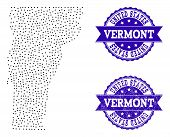 Dotted Black Map Of Vermont State And Blue Scratched Seal Stamp. Vector Map Of Vermont State Designe poster