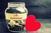 Glass Jar With Coins And The Inscription life Insurance. The Concept Of Medical Insurance Of Life, poster