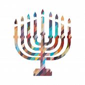 Hanukkah Candles Icon Isolated. Jewish Festival Of Lights Celebration, Festive Background With Menor poster