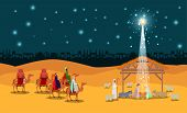 Christmas Desert Scene With Holy Family In Stable Vector Illustration Design poster