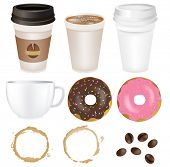 Set Coffee, Isolated On White Background, Vector Illustration