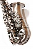 picture of saxy  - Silver saxophone isolated over white - JPG