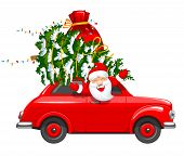 Happy New Year And Merry Christmas. Cute And Cheerful Santa Claus Drives An Red Retro Car With A Chr poster