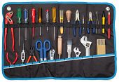 Toolbelt with set of tools - screwdrivers ruler nippers  wrenches pliers pencil  cutter scissors bru poster