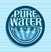 Vector Logo For Pure Water, Dark Round Coaster With Variety Glass And Plastic Bottles, Original Brus poster