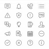 Information And Notification Thin Icon Set. Simple Vector Icons. Clear And Sharp. Easy To Resize. poster